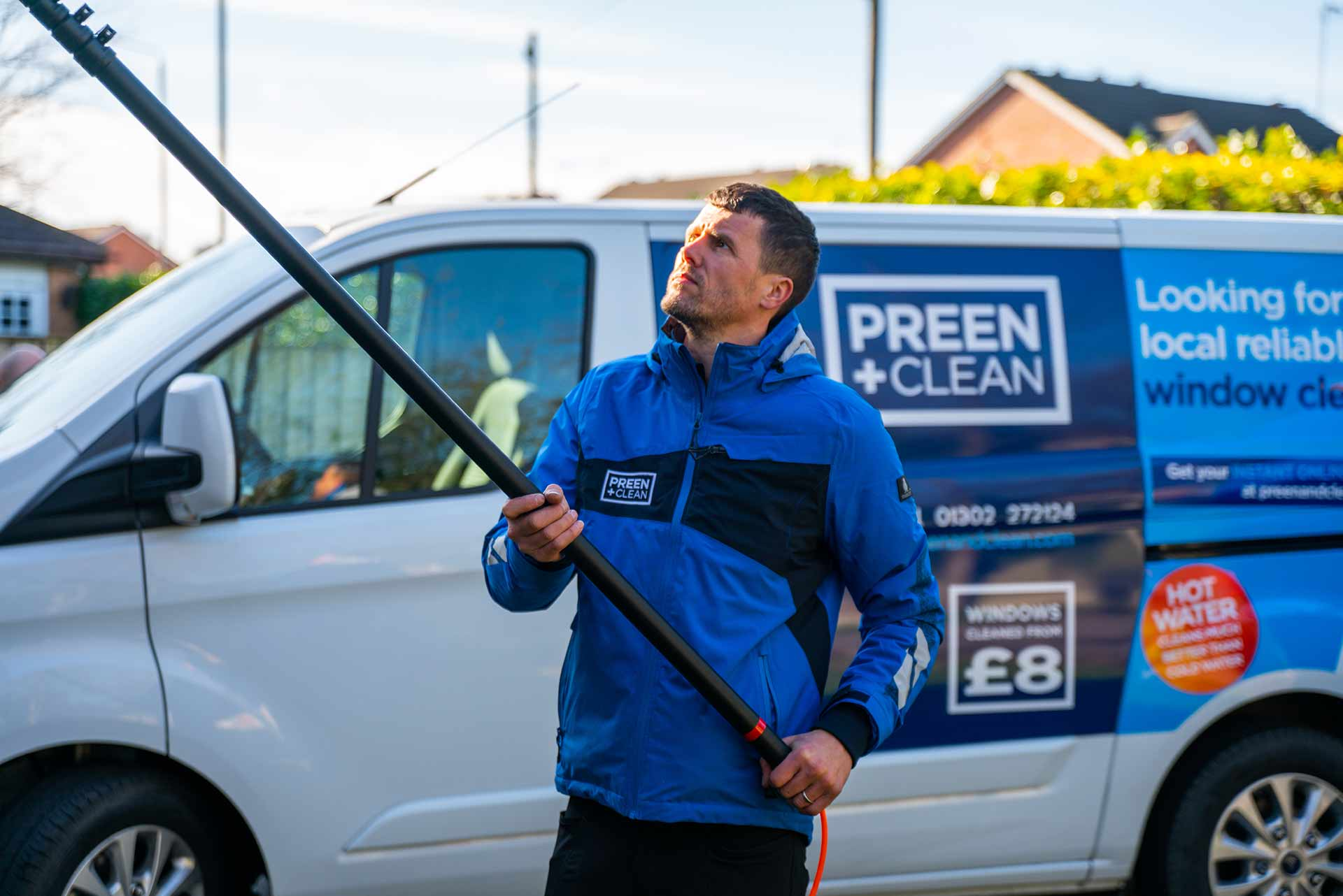 One of our window cleaners in action